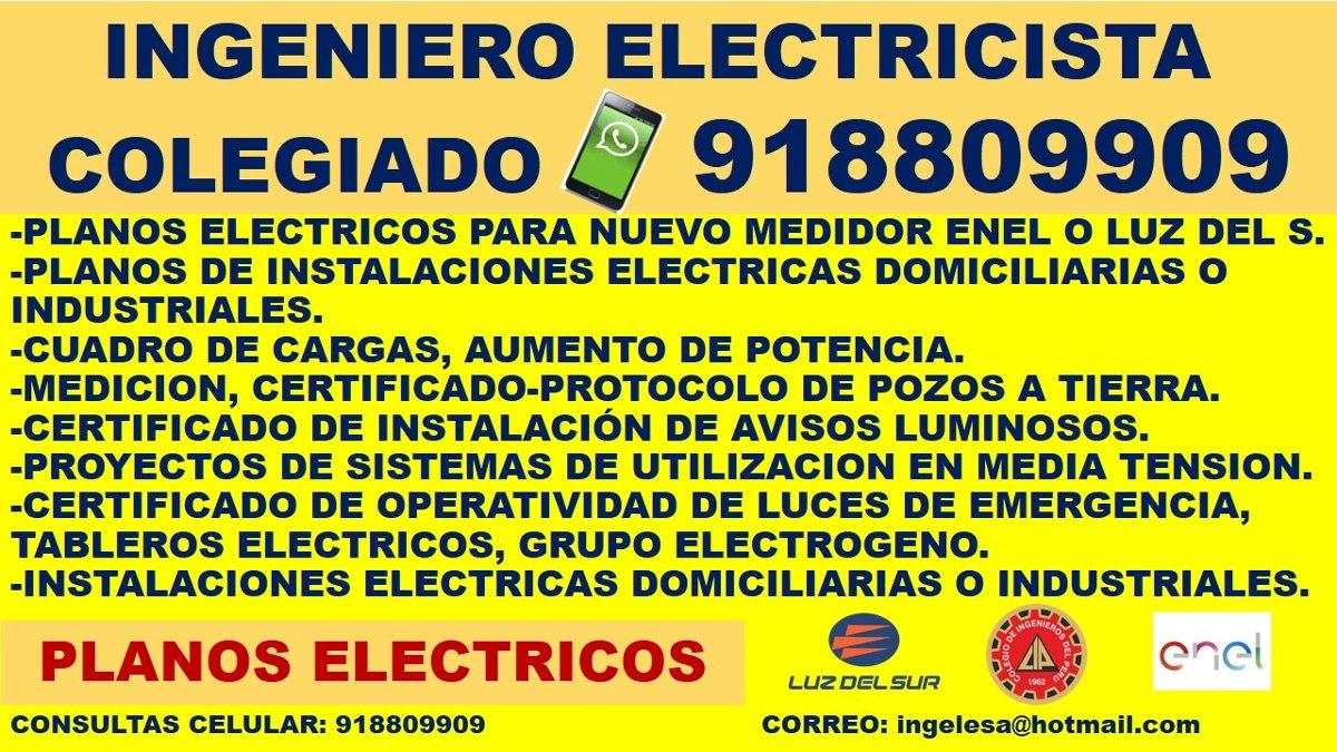 Ingeniero electricista, plano eléctrico,cuadro de carga,pozo