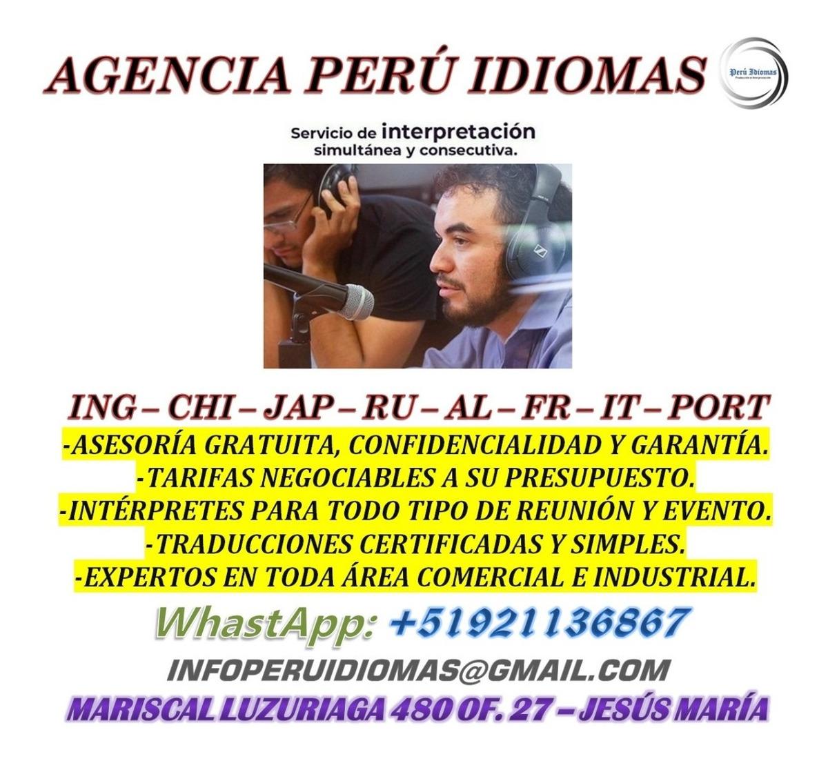 Intérpretes de portugués, hindú, chino y japonés