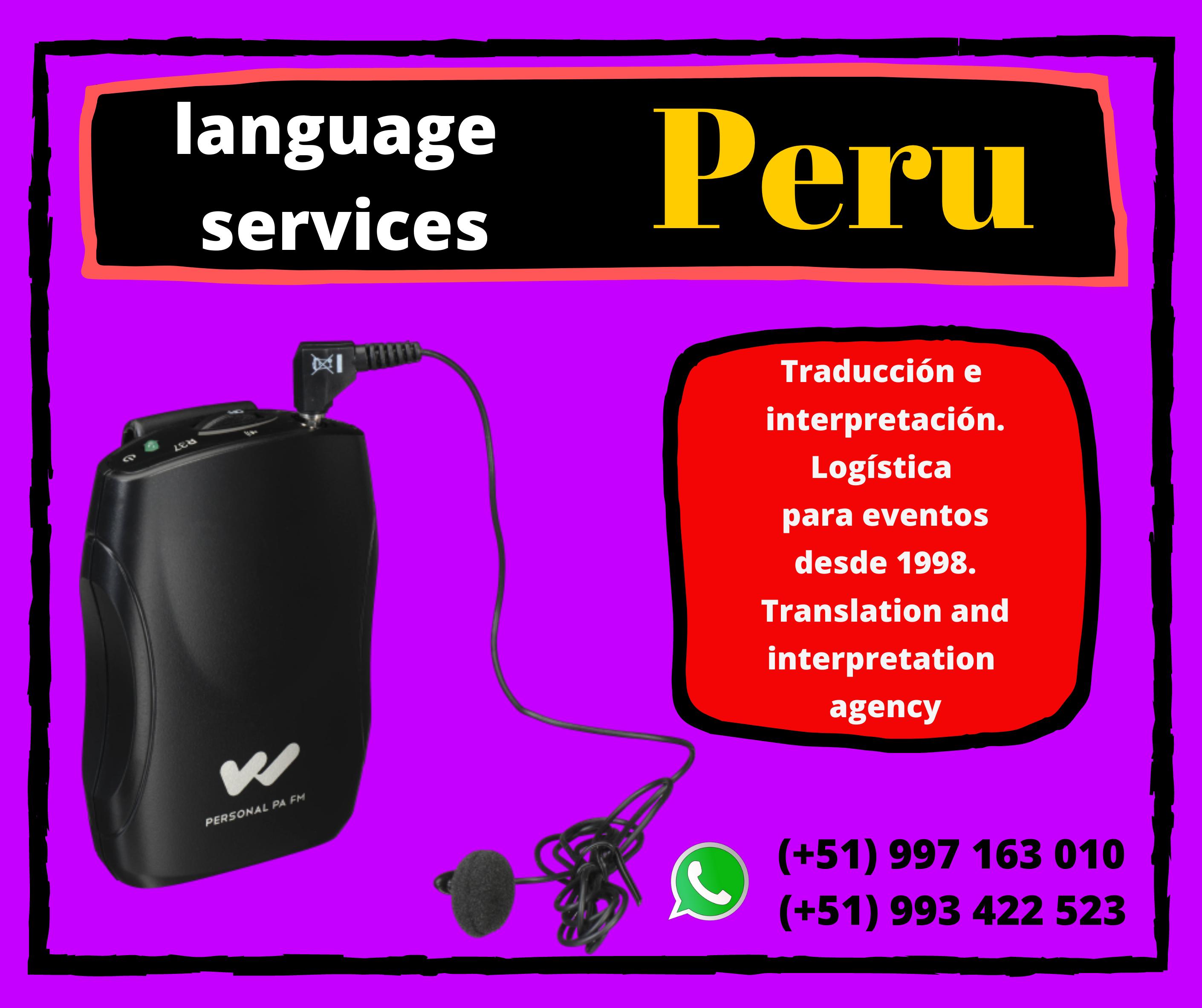 Puno / Juliaca Traducción de idiomas para eventos