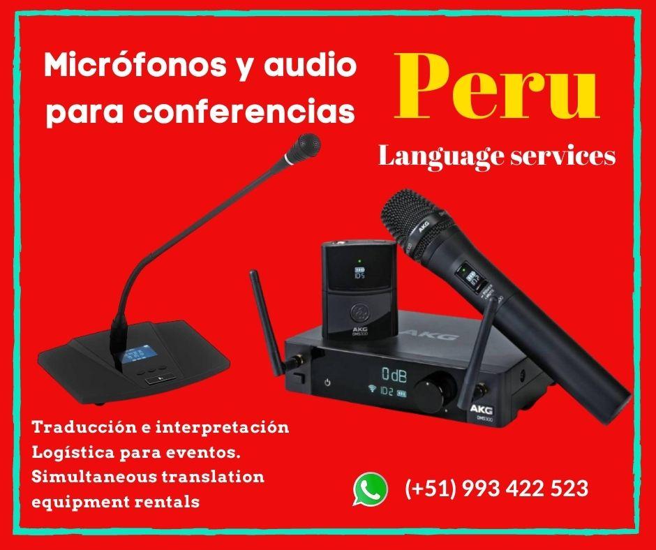 EQUIPOS TRADUCCIÓN SIMULTÁNEA EN PERÚ ✅ C. (+51) 993422523
