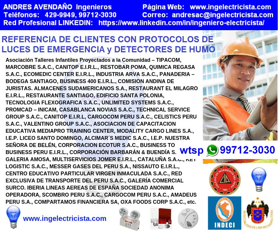 CERTIFICADOS DE LUCES DE EMERGENCIA DETECTORES DE HUMO ALARMAS