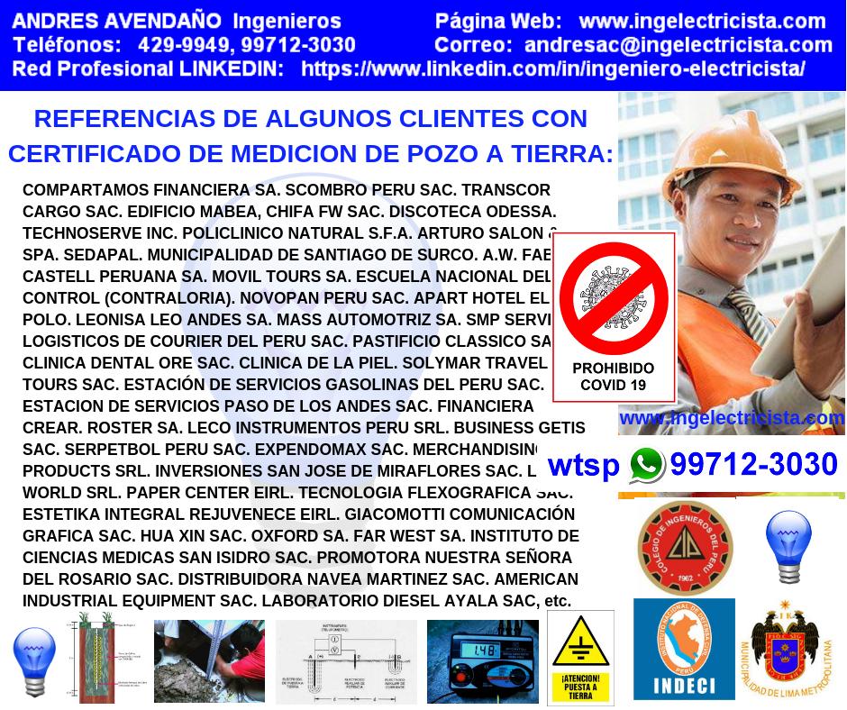 CERTIFICADOS DE POZOS A TIERRA, Ing. Electricista Colegiado