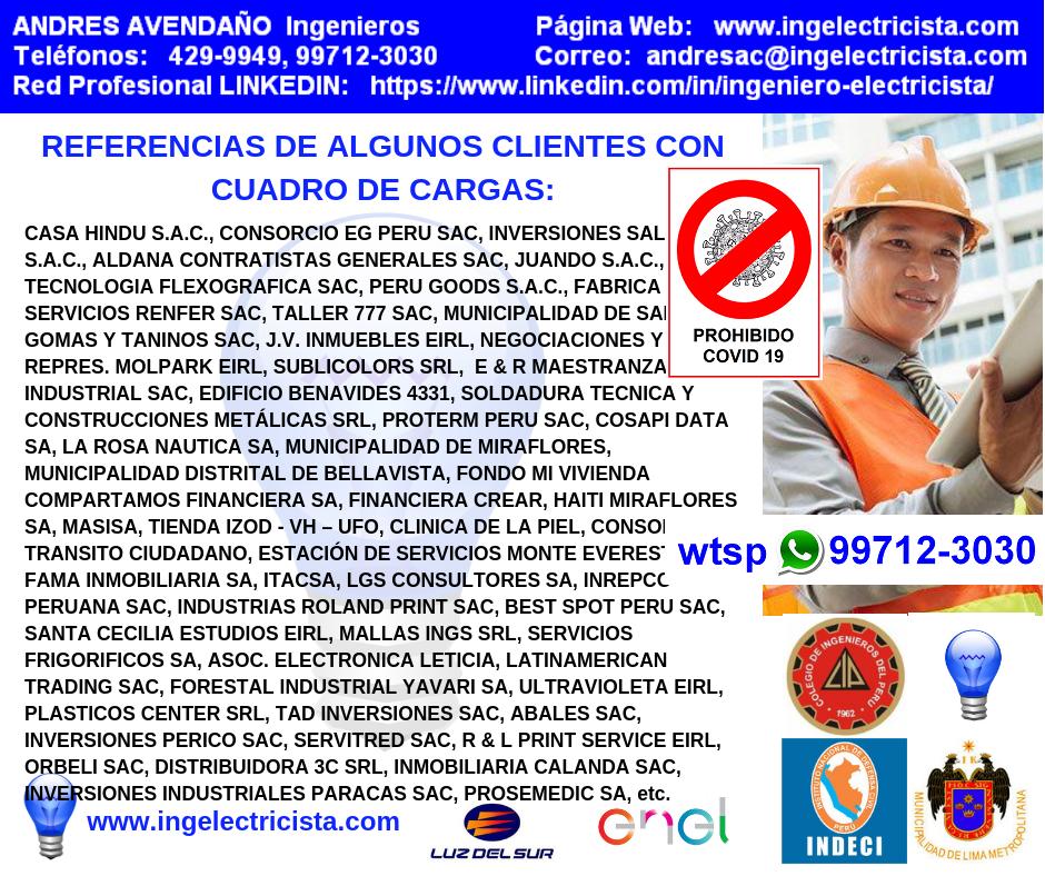 CUADRO DE CARGAS, PLANOS ELECTRICOS para Luz Del Sur, ENEL